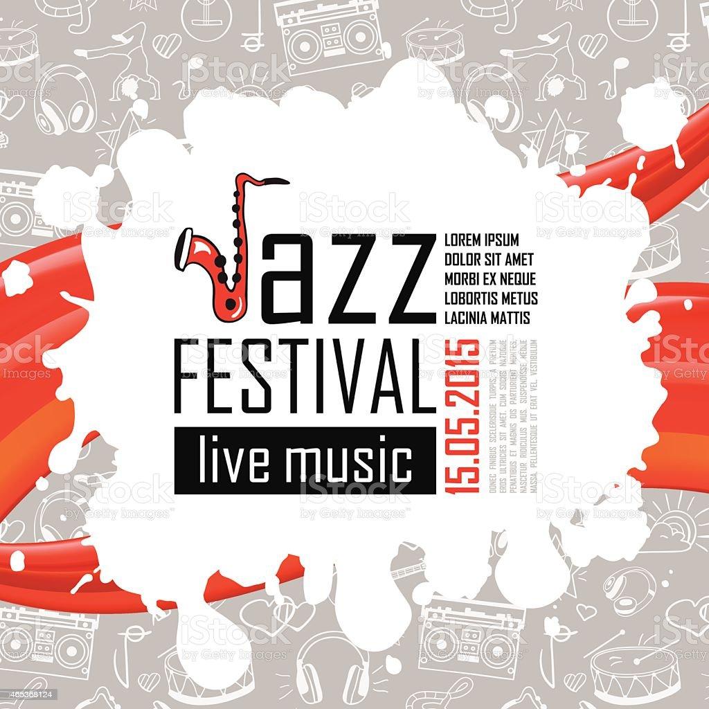 Jazz Muzyki Plakat Tło Wzór Stockowe Grafiki Wektorowe I