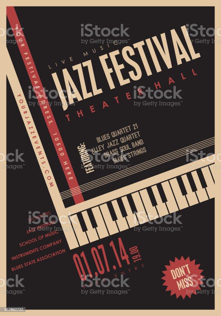 Musique de Jazz, arrière-plan de modèle de l'affiche. - Illustration vectorielle