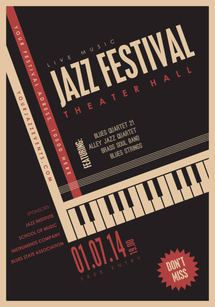 jazz music, poster background template. - instrument strunowy stock illustrations
