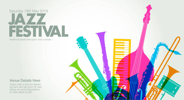 jazz music poster - klarnet stock illustrations