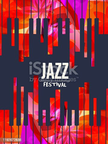 Jazz music promotional poster with piano keyboard vector illustration. Colorful music background with piano keys, music show, live concert events, party flyer design template