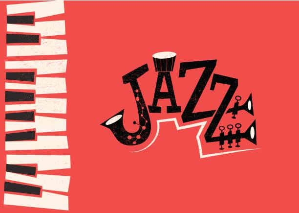 Jazz Music - retro flat illustration - illustrazione arte vettoriale