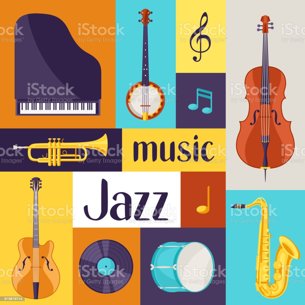 Jazz Music Retro Poster With Musical Instruments Stock Illustration -  Download Image Now