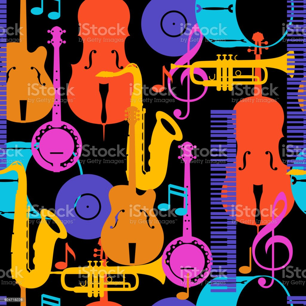 Jazz music seamless pattern with musical instruments vector art illustration