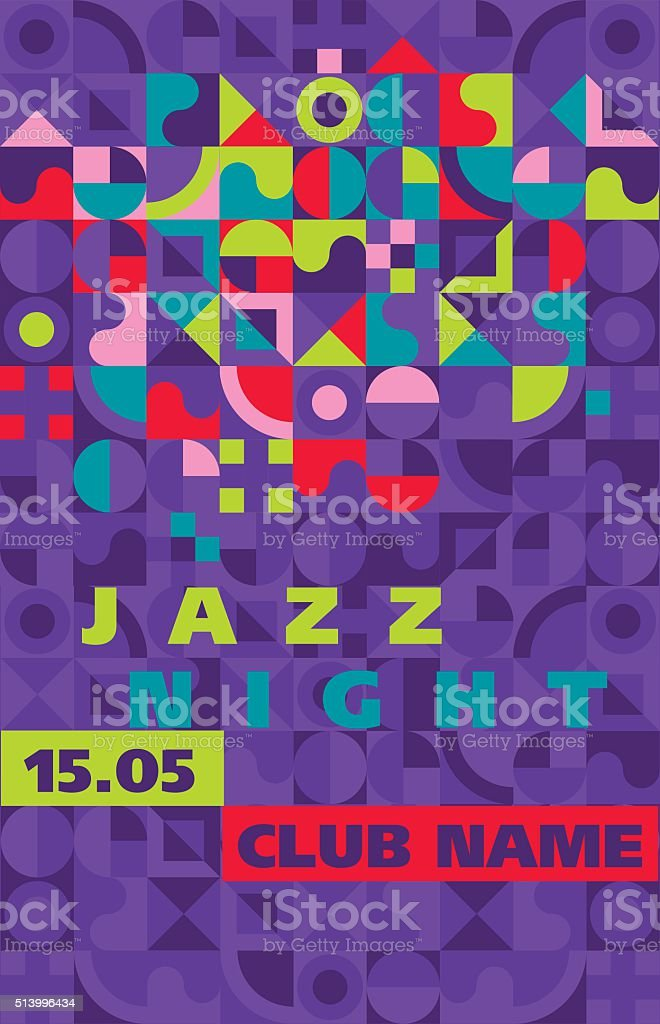 jazz music style geometry template vector poster stock vector art