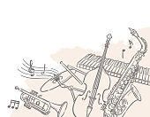 Jazz music themed background with instruments. Vector illustration.