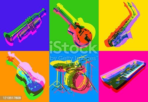 istock Jazz Musical Instrument icons 1213517809