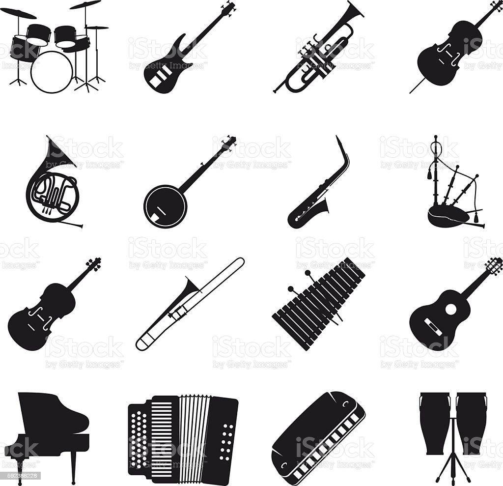 Jazz musical instrument silhouettes vector art illustration