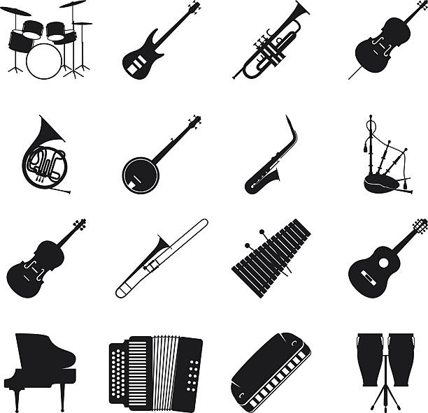 jazz musical instrument silhouettes - instrument perkusyjny stock illustrations