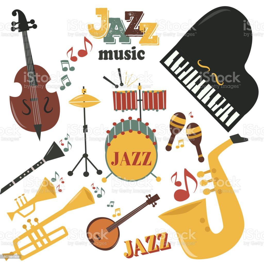 Jazz instrumentos musicais ferramentas ícones jazzband saxofone piano música som vector ilustração rocha concerto nota - ilustração de arte em vetor