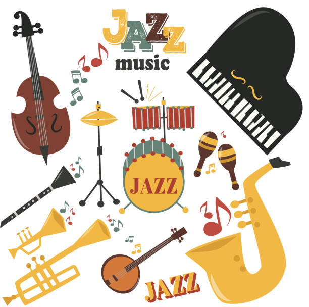 jazz musical instruments tools icons jazzband piano saxophone music sound vector illustration rock concert note - medical equipment stock illustrations, clip art, cartoons, & icons