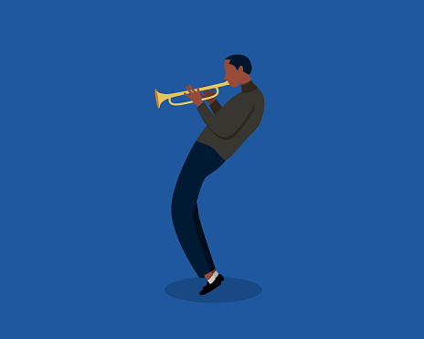 Jazz musician playing trumpet instrument. Jazz music, jazz singer, concert concept. Trumpet player on isolated background. Modern vector illustration in cartoon flat style.