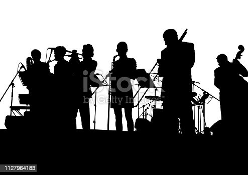 Music man whit jazz band on white background