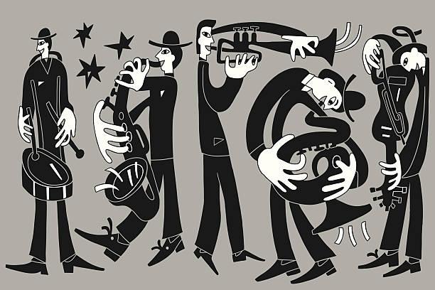 stockillustraties, clipart, cartoons en iconen met jazz musicians - doodles set - tenor