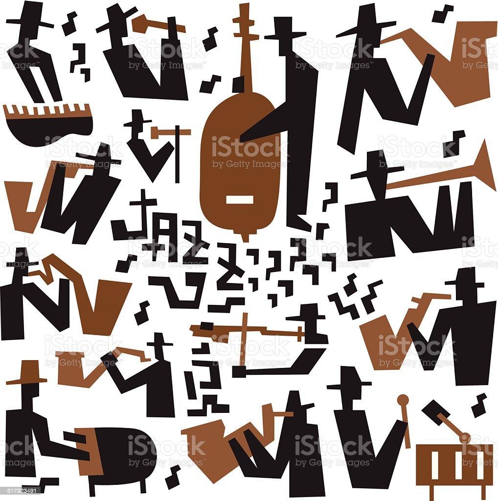 jazz musicians - icons set vector art illustration