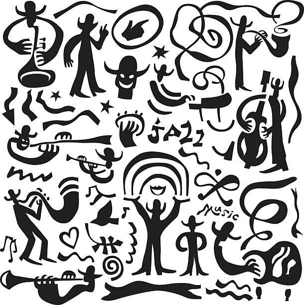 stockillustraties, clipart, cartoons en iconen met jazz musicians - icons set - tenor