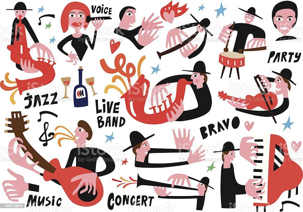jazz musicians set 3 vector art illustration