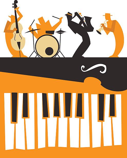 jazz muzyków sylwetki z klawiaturą - jazz stock illustrations