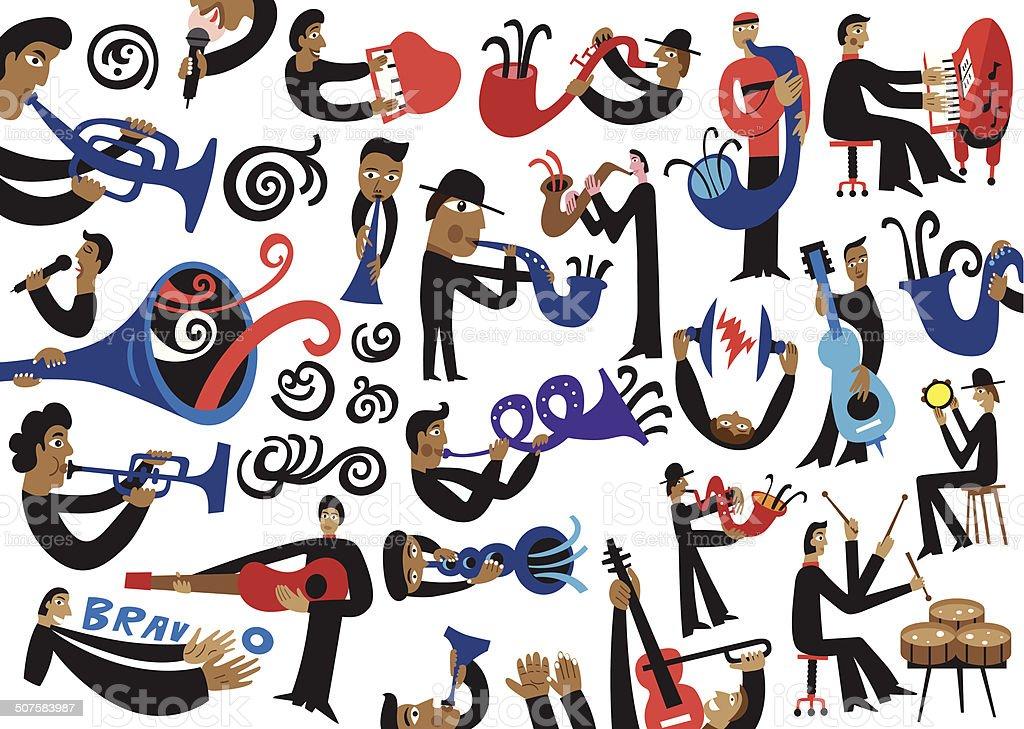 jazz musicians vector art illustration