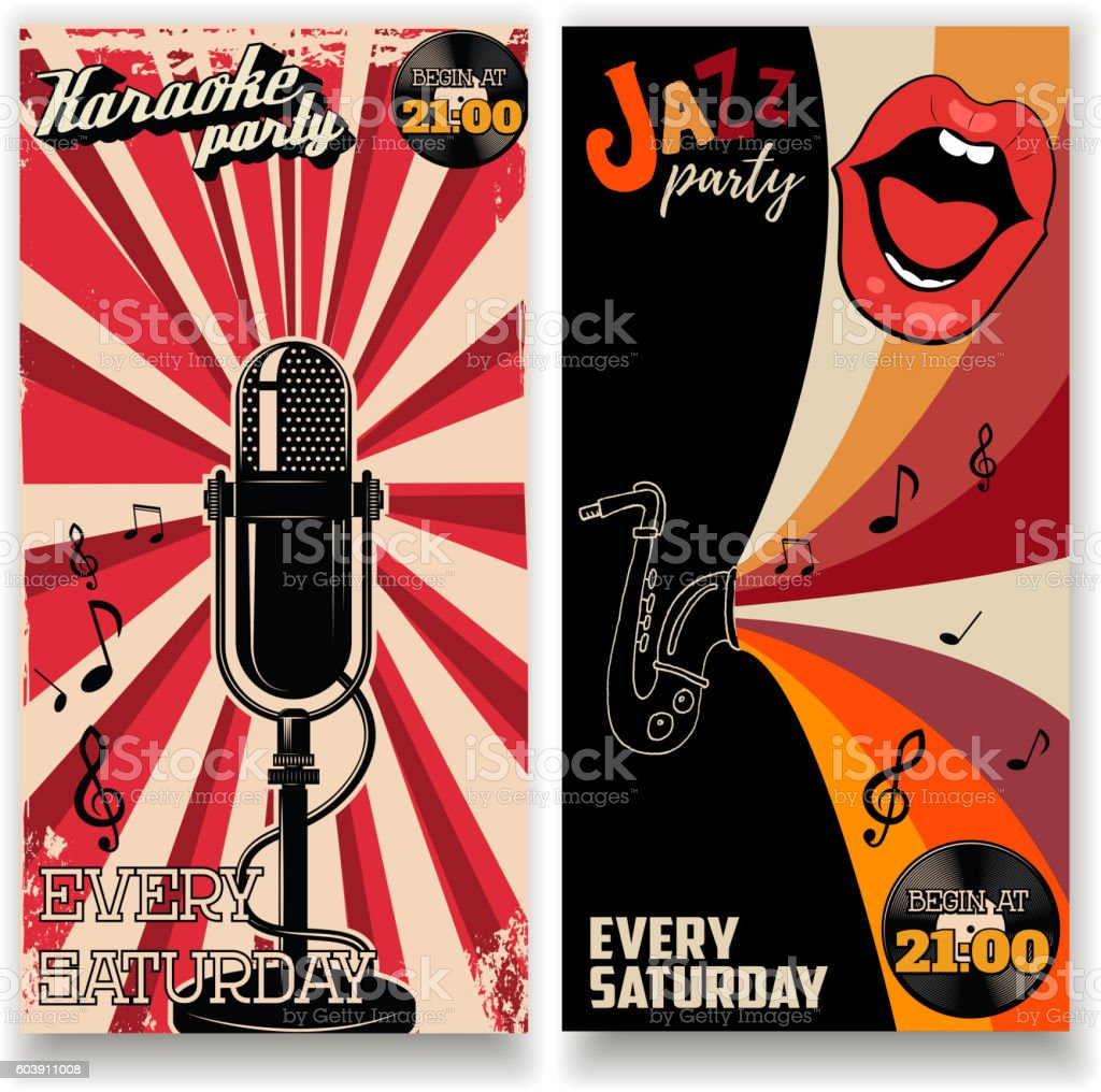 jazz party and karaoke party flyers templates アイデアのベクター