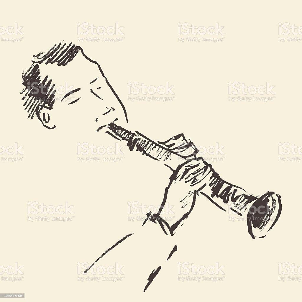 Jazz poster Clarinet music acoustic consept vector art illustration