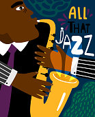 Jazz poster. Clubbing sax music placard contemporary style, saxophonist african jazz man club modern flyer for blues instruments night