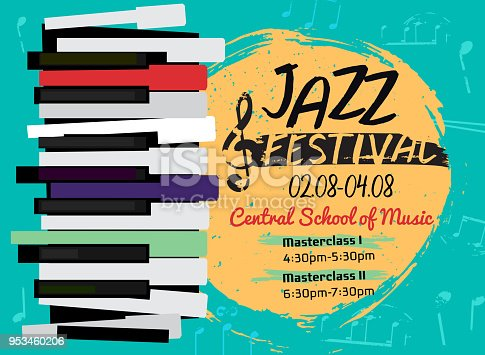 Retro jazz festival poster with a piano keyboard in bright colors. Editable vector illustration. Landscape image in a modern style useful for musical concert or festival poster design.