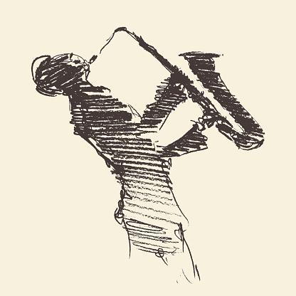 Jazz poster Man playing saxophone drawn sketch