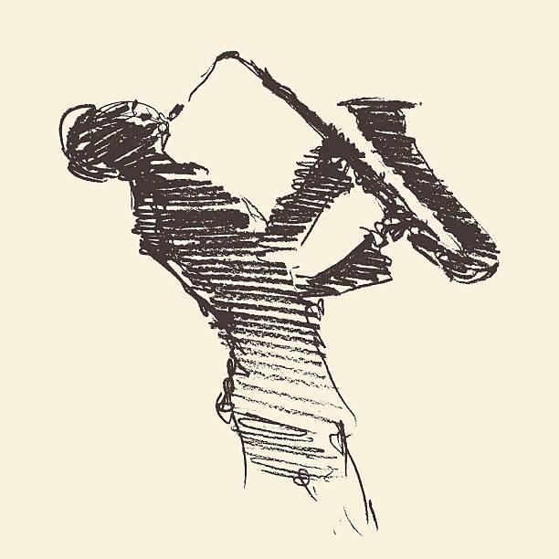 ilustrações de stock, clip art, desenhos animados e ícones de jazz cartaz homem tocando saxofone desenhado desenho - saxofone