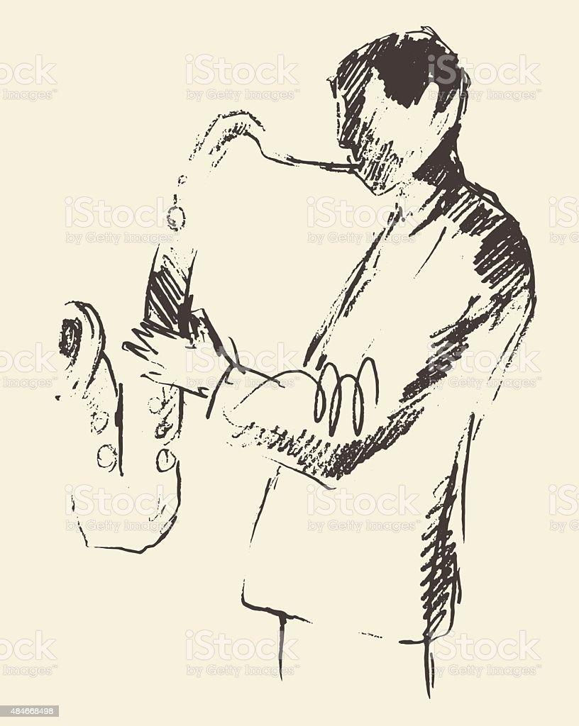 Jazz poster saxophone music acoustic consept vector art illustration