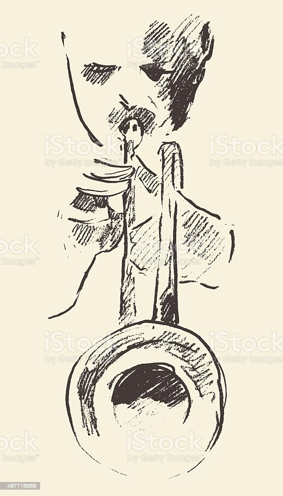 Jazz poster trumpet music acoustic consept vector art illustration