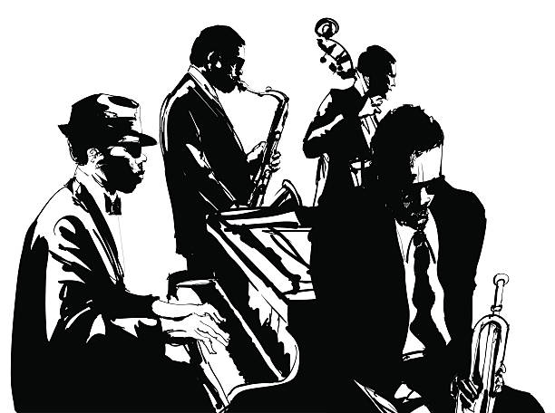 Jazz poster with saxophone, double-bass, piano and trumpet vector art illustration