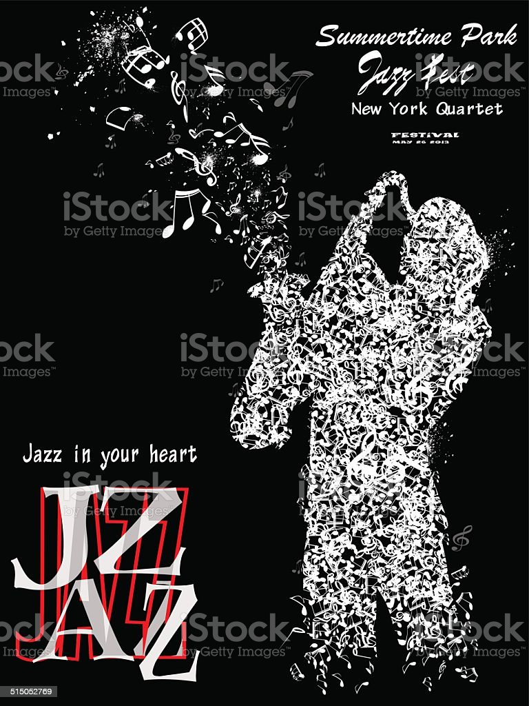 Jazz poster with saxophonist vector art illustration