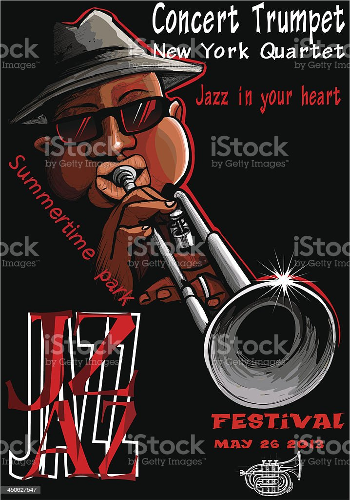 Jazz poster with trumpeter royalty-free stock vector art