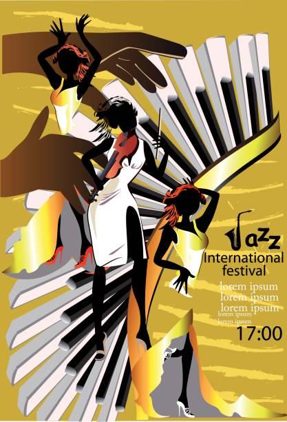 Affiches de jazz avec des musiciens et des instruments de musique. - Illustration vectorielle