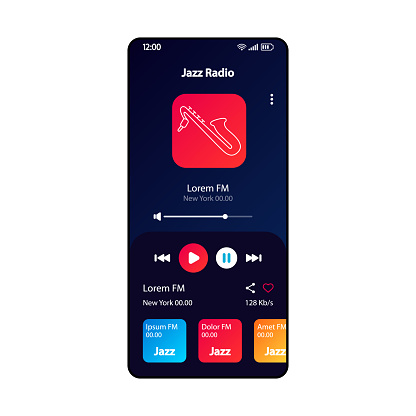 Jazz radio smartphone interface vector template. Mobile music player app page black design layout. Retro songs albums, playlists listening screen. Flat UI for application. MP3 player. Phone display