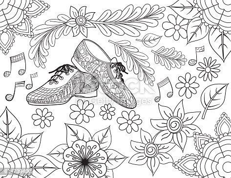 Ilustración de Jazz Shoes Hand Drawn Adult Coloring Book Page y más ...