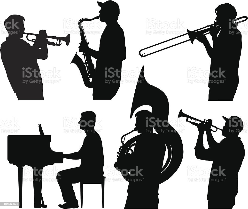 Jazz silhouettes royalty-free stock vector art