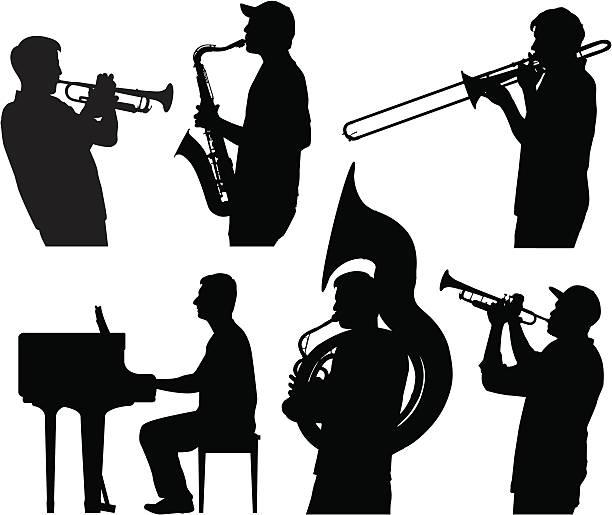Jazz silhouettes vector art illustration