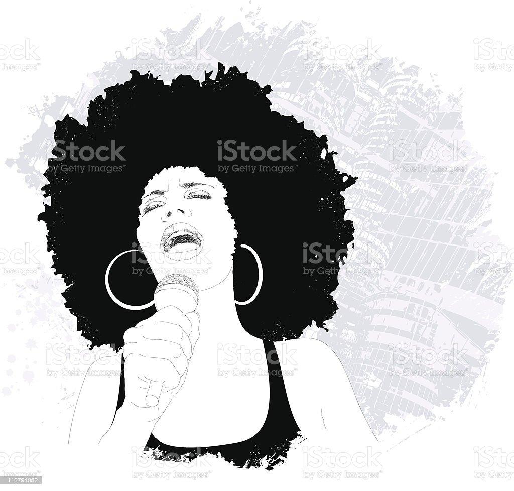 jazz singer vector art illustration
