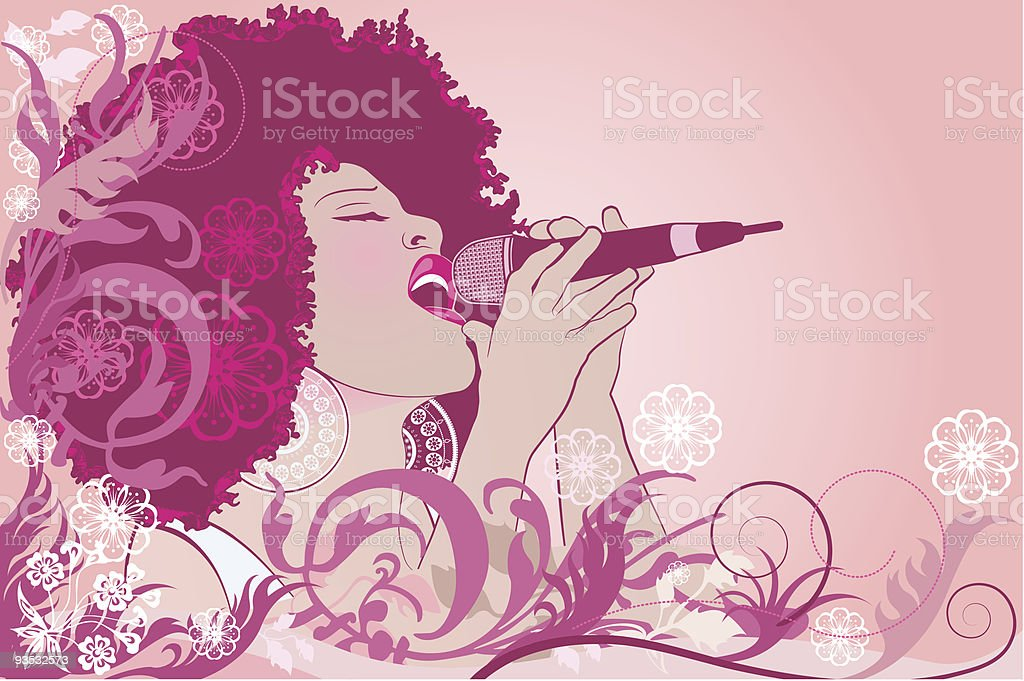 jazz singer vector art illustration