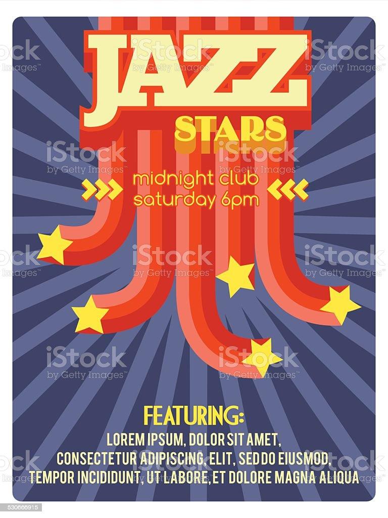 Jazz étoiles. Flyer - Illustration vectorielle