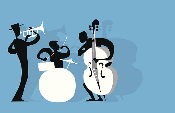 jazz trio - 1940s style stock illustrations
