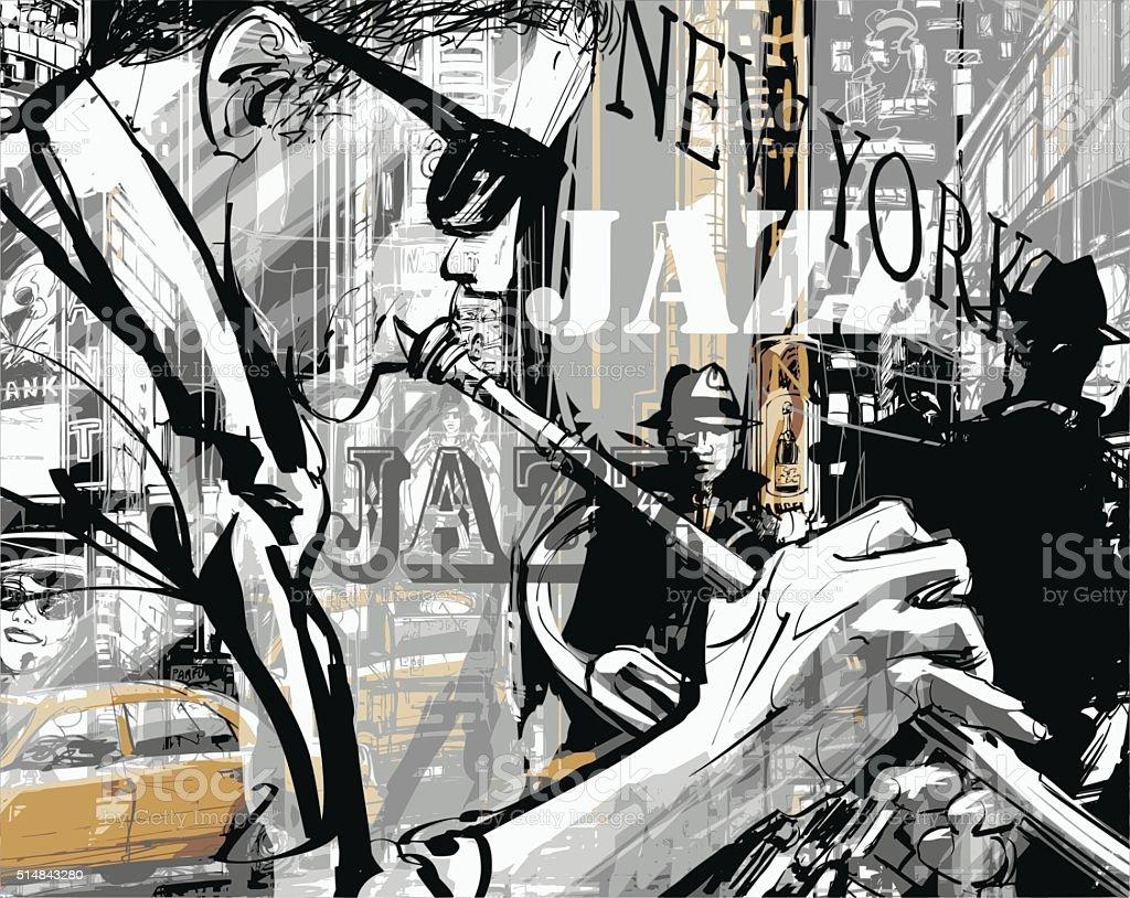Jazz trumpet player in a street of New york vektör sanat illüstrasyonu