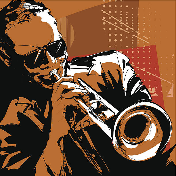 stockillustraties, clipart, cartoons en iconen met jazz trumpet player - trompet