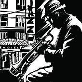 Jazz trumpet player-Vector illustration