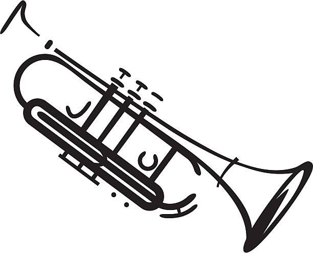 stockillustraties, clipart, cartoons en iconen met jazz trumpet - trompet