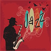 Retro 50s styled grunged up saxophonist playing jazz with silhouetted birds and hand drawn elements.