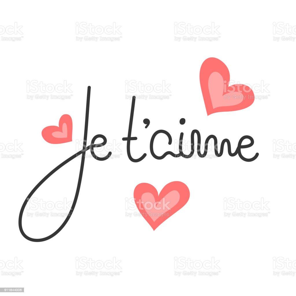 Ilustración De Je T Aime Letras Francesas Cita Romántica