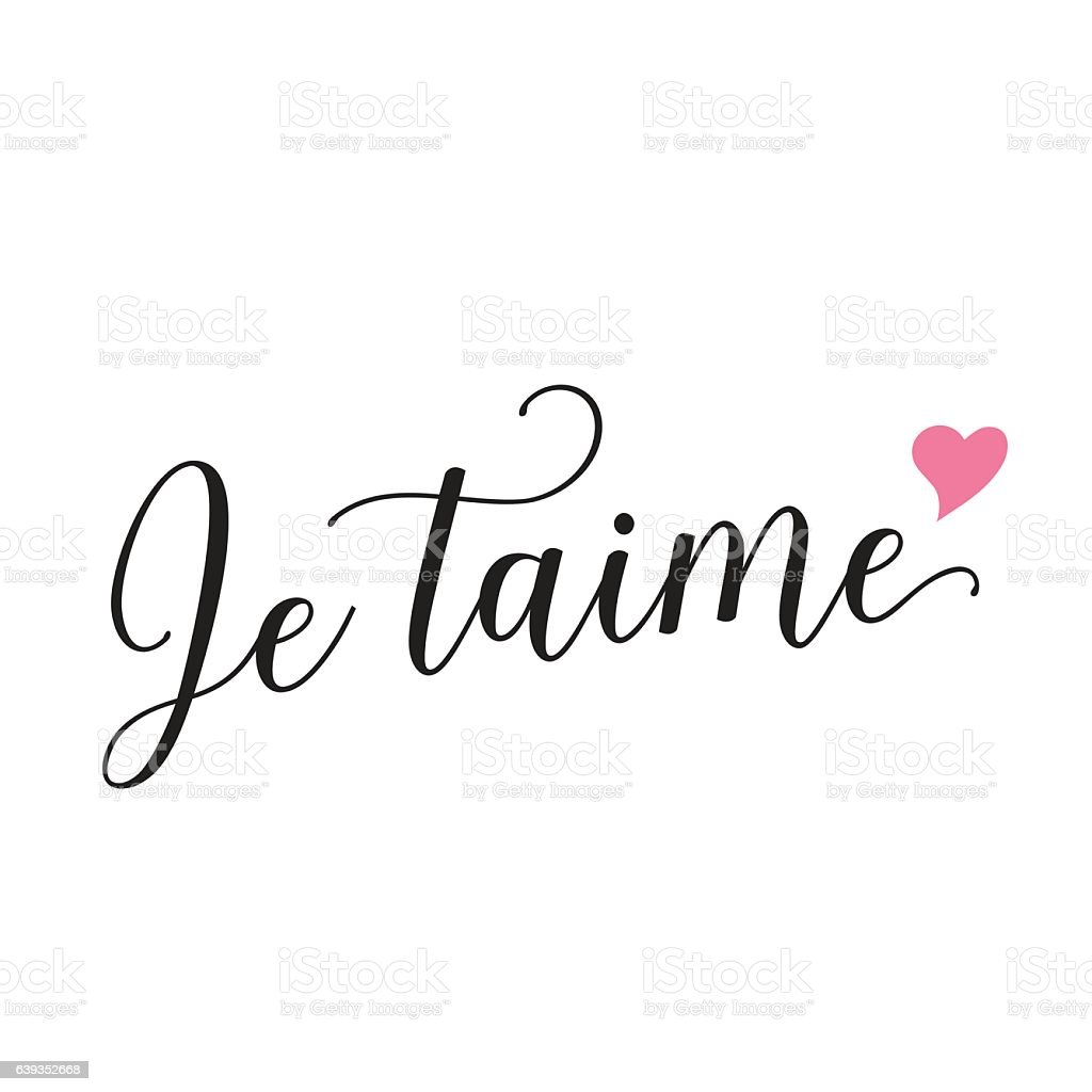 Je Taime Lettering With Heart Stock Vector Art & More